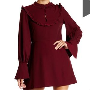 M-107 Burgundy bib dress